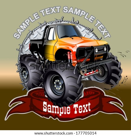Vector Cartoon Monster Truck. Available EPS-10 vector format separated by groups and layers with transparency effects for one-click repaint - stock vector