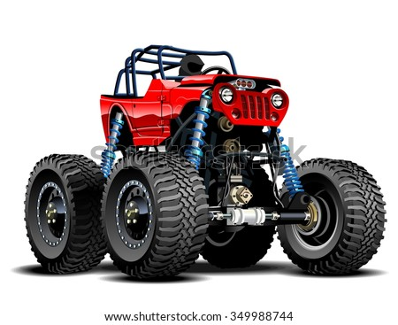 Vector Cartoon Monster Truck. EPS-10 separated by groups and layers - stock vector