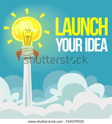 vector cartoon motivational banner background launch stock vector