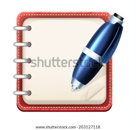 Vector Cartoon Notepad and Pen - stock vector