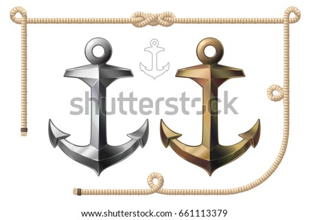 Vector Cartoon Object Illustration Anchor And Frame Of Rope Clip Art Isolated On Transparent