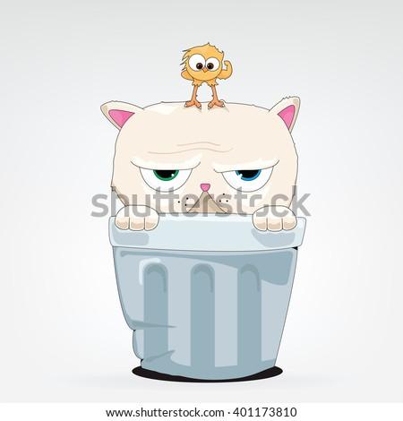 vector cartoon of a cat in a thrash can - stock vector