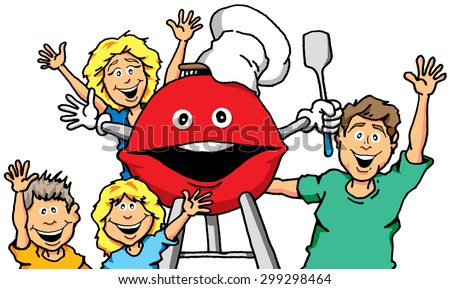 Vector cartoon of a family with a smiling grill.