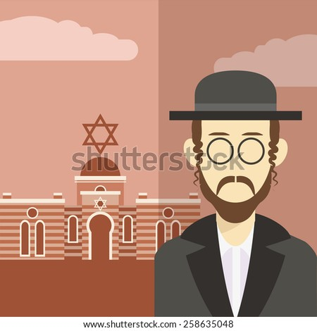 Vector cartoon of a  icon with an jew - stock vector