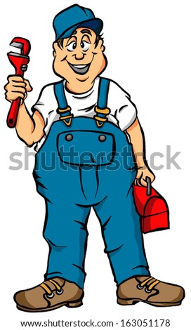 Vector Cartoon of a Plumber Ready for Work