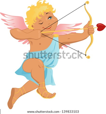 Vector cartoon of a traditional Cupid, with bow and hear-shaped arrow, smiling and aiming