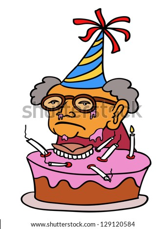 vector cartoon of an old lady her birthday - stock vector