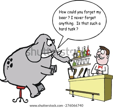 Vector cartoon of angry elephant ordering drink at hotel bar - stock vector