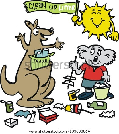 Vector cartoon of Australian animals learning to pick up rubbish and litter