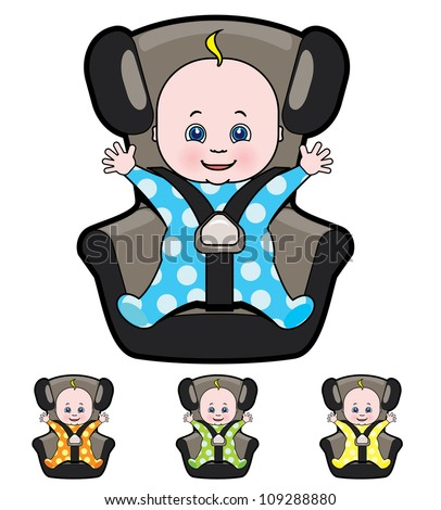 Vector cartoon of baby in car seat - stock vector