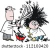 Vector cartoon of barber using shears on hairy customer - stock vector
