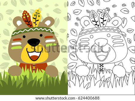 Vector Cartoon Of Bear The Little Indian Coloring Book