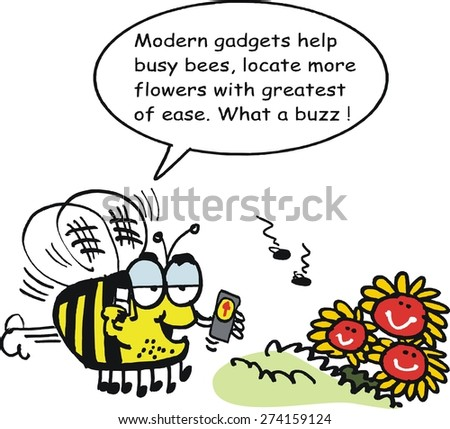 Vector cartoon of bee with GPS navigation device finding flowers - stock vector
