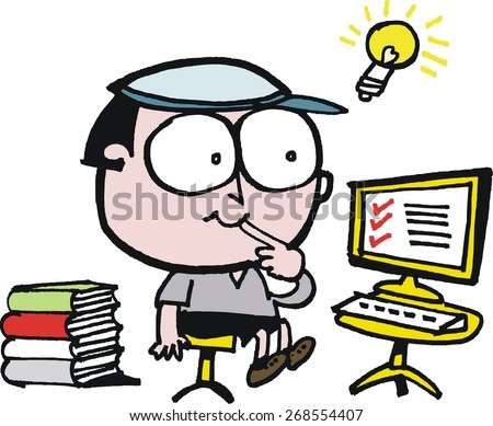 Vector cartoon of boy sitting at computer with books and bright idea