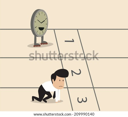 Vector cartoon of Businessman and clock with skate preparing on running track