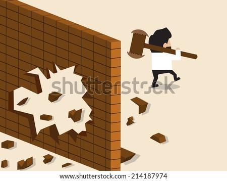 Vector cartoon of Businessman break a wall and walk apart - stock vector