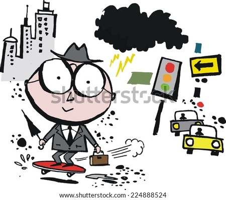 Vector cartoon of businessman in city on skateboard - stock vector