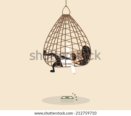 Vector cartoon of Businessman is caught in a net trap - stock vector