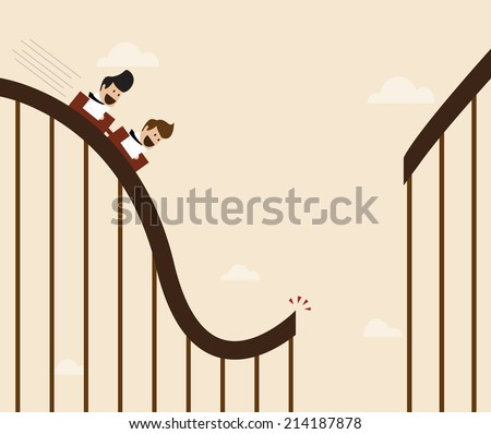 Vector cartoon of Businessman playing broken roller coaster