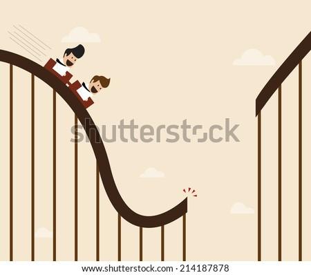 Vector cartoon of Businessman playing broken roller coaster - stock vector