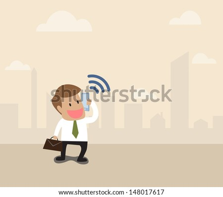 Vector cartoon of Businessman use smart phone with wifi symbol
