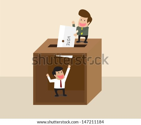 Vector cartoon of Businessman voting at ballot box with another man waiting inside - stock vector