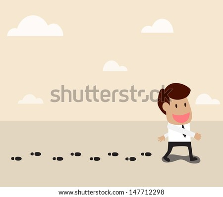 Vector cartoon of Businessman walking and leaving his footprint - stock vector