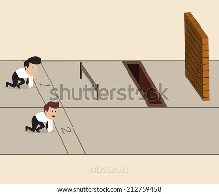 Vector cartoon of Businessman with obstacle on the track - stock vector