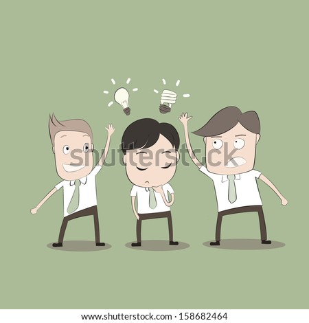 Vector cartoon of Businessmen is stealing idea from another man  - stock vector