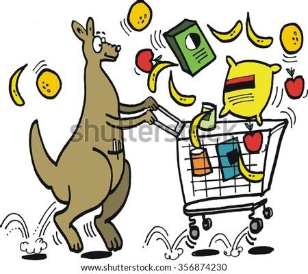 Vector cartoon of comical kangaroo hopping along with bouncing supermarket trolley.  - stock vector