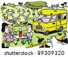 Vector cartoon of couple camping with recreational vehicle. - stock vector