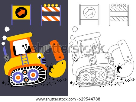 vector cartoon of digger with construction signs coloring book or page