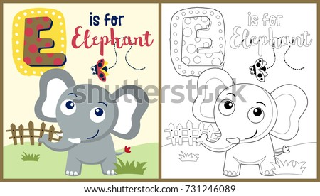 Vector Cartoon Elephant Ladybug Coloring Book Stock Vector ...