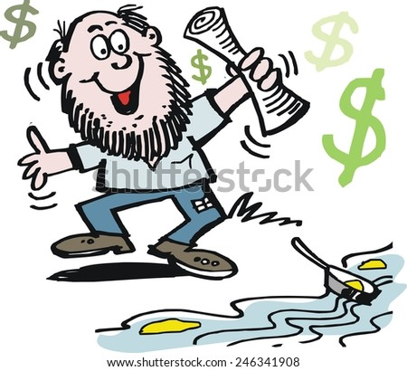 Vector cartoon of excited prospector finding gold in ...