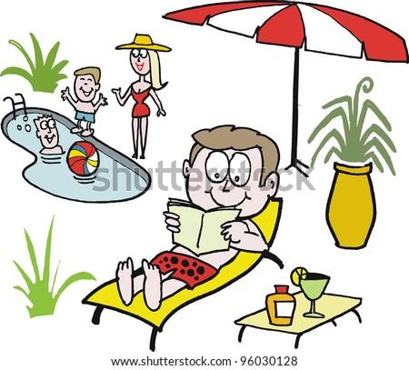 Vector cartoon of family relaxing beside pool - stock vector