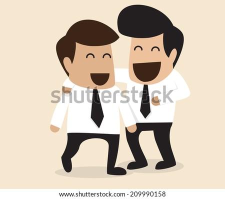 Vector cartoon of Friendship between two Businessman - stock vector
