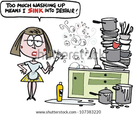Vector cartoon of frustrated housewife washing up dishes - stock vector