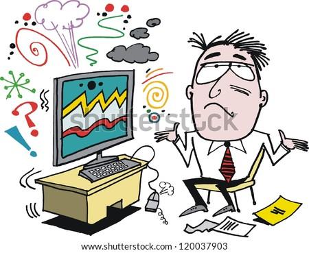 Vector Cartoon Frustrated Man Defective Computer Stock