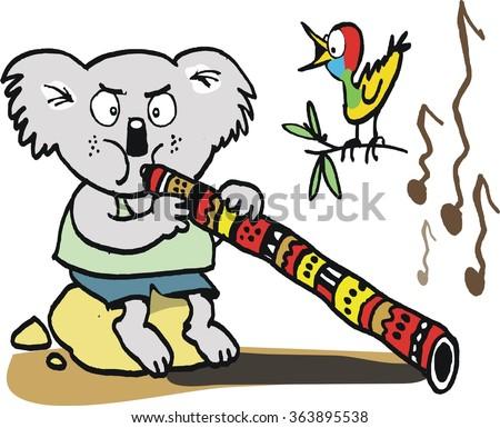 Vector cartoon of funny koala bear trying to play didgeridoo in Australian outback. - stock vector