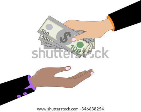 Vector cartoon of Hand, giving money dollars to other hand