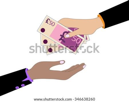 Vector cartoon of Hand, giving money pound to other hand - stock vector
