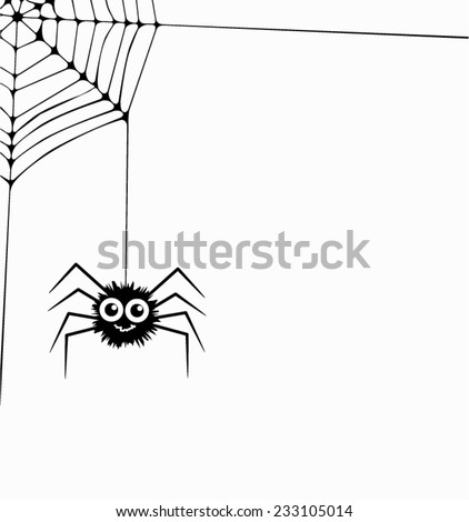 vector cartoon of hanging spider and web network - stock vector
