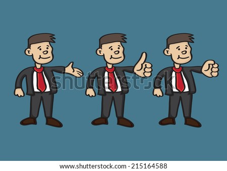 Vector cartoon of happy businessman in business suit and a red tie with different hand gestures - stock vector