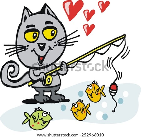 Vector cartoon of happy cat with fishing rod casting for fishes in pool - stock vector