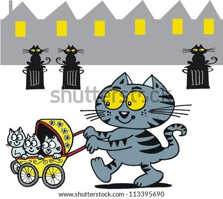 Vector cartoon of happy cat with kittens in stroller. - stock vector