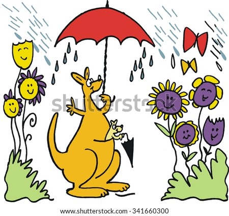 Vector cartoon of happy kangaroo with umbrella in rain with smiling flowers. - stock vector