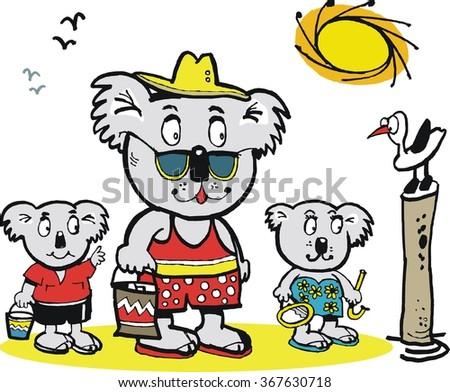 Vector cartoon of koala bear family at beach with seagull.  - stock vector