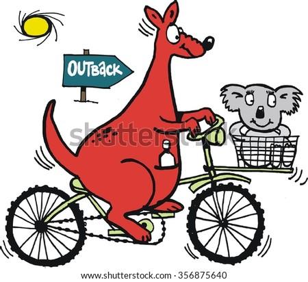 Vector cartoon of large red kangaroo using bicycle with koala passenger in basket.  - stock vector