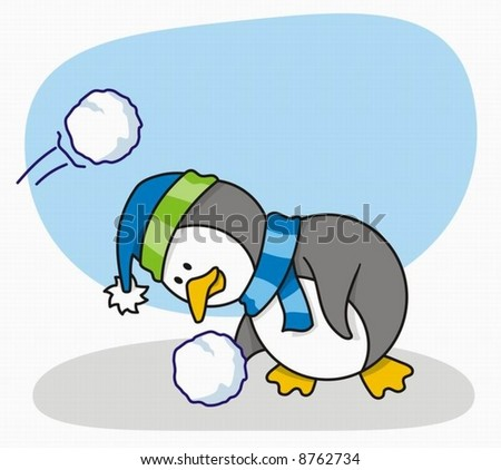 Vector cartoon of little penguin with snow