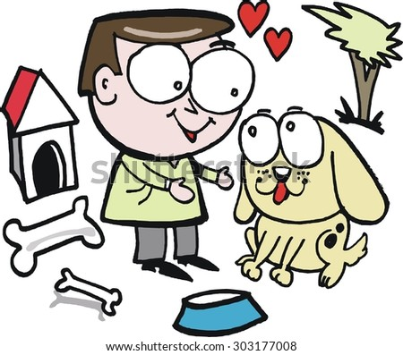 Vector cartoon of man and dog showing affection for each other - stock vector